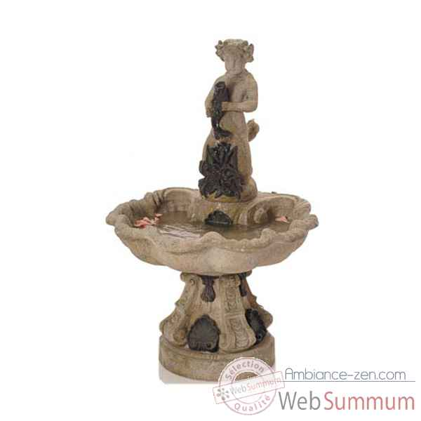 Fontaine-Modele Alsace Fountain, surface granite combines avec du fer-bs3103gry/iro