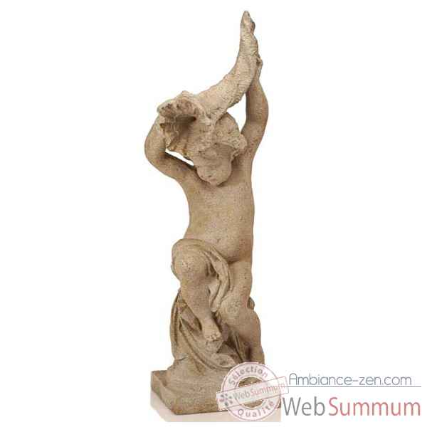 Fontaine-Modele Garden Cupid w. Curnocopia Fountainhead, surface marbre vieilli combines avec or-bs3144wwg