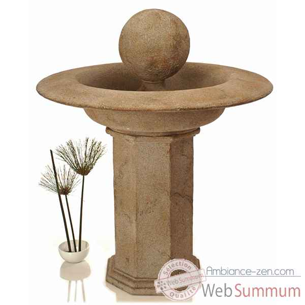 Fontaine Carva Ball Fountain on Octagonal Pedestal, granite -bs4066gry