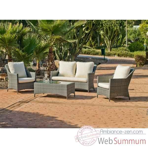 Ensemble salon de jardin timur : 1 canapé 2pl + 2 fauteuils + 1 ...