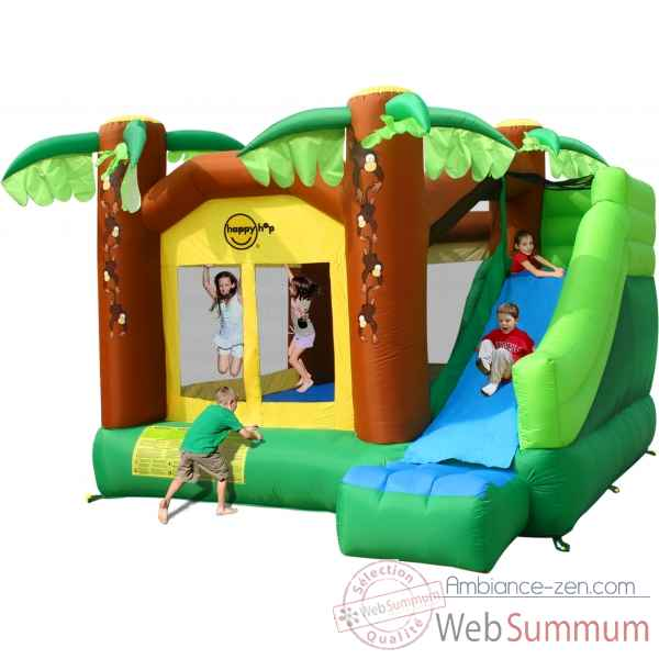 Jeu gonflable jungle toboggan et escalade Happy Hop -9164