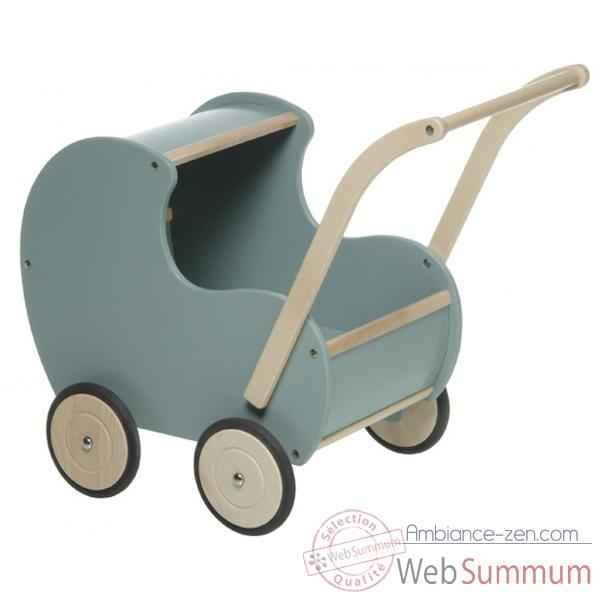Video Poussette en bois bleue retro - 0756