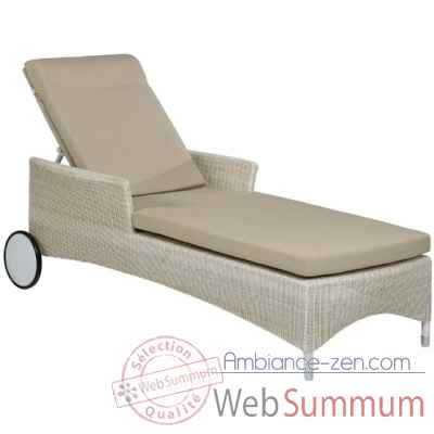 Chaise longue Atoll resine Creme avec coussin tissus beige KOK 860W