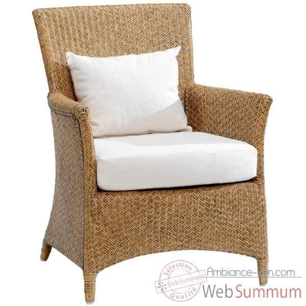 fauteuil nevis rotin loom avec coussin t42 kok 427 1l dans. Black Bedroom Furniture Sets. Home Design Ideas