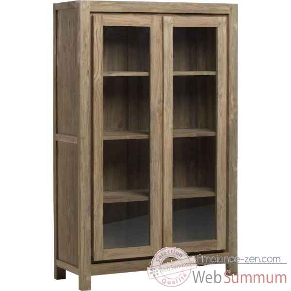 Vitrine 2 portes drift Teck Recycle naturel brosse KOK M113N