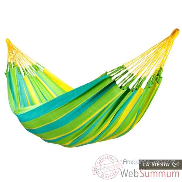 Hamac double colombien sonrisa lime (resistant aux intemperies) La Siesta -SNH16-4