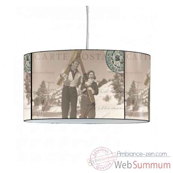lampe suspension montagne ancienne carte postale dans suspension sur ambiance zen. Black Bedroom Furniture Sets. Home Design Ideas