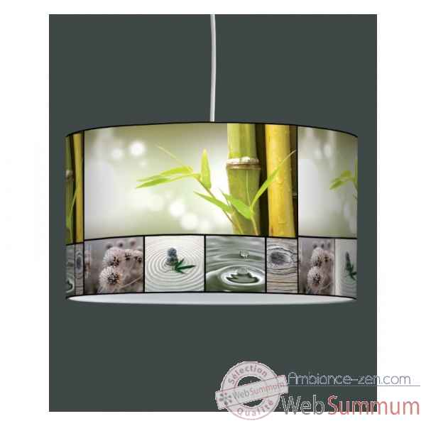 Lampe suspension zen design galets bois -ZE1225SUS