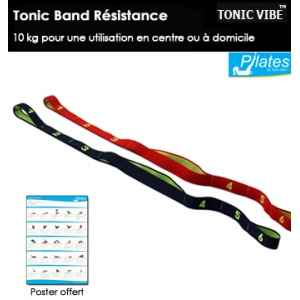 Bande elastique tonic vibe 10 kg rouge + poster d'exercices -TV-PILATES-1219