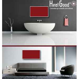 Radiateur infrarouge verre teinte 500w rouge horizontal Tonic Vibe -TV-GLASS-048